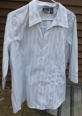 Women's Blue and White Blouse by DCC Stretch; Size: 18/20