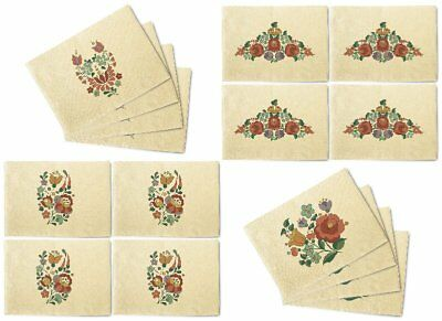 Hungarian Flowers Printed Canvas Table Mats Placemats 13x19 Inch Set of 4