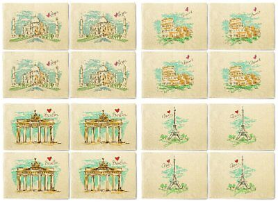 Sketch Of Cities Printed Canvas Table Mats Placemats 13x19 Inch Set of 4