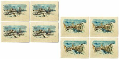 Lanscape Drawing Printed Canvas Table Mats Placemats 13x19 Inch Set of 4