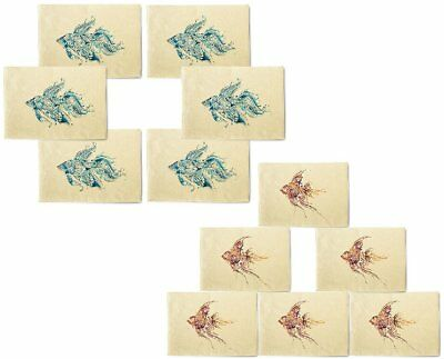 Mystery Tribal Fish Printed Canvas Placemats 13x19 Inch Set of 6