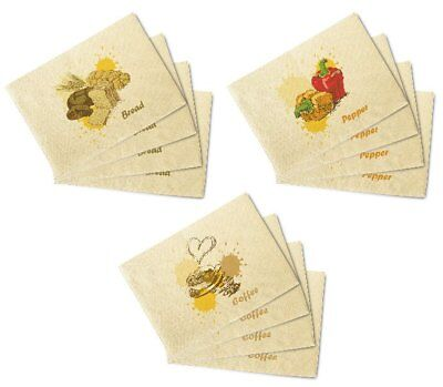 Hand-Drawn Food Printed Canvas Table Mats Placemats 13x19 Inch Set of 4