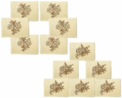 Hand Drawn Of Flowers Printed Canvas Placemats 13x19 Inch Set of 6