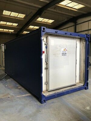 20ft  x 8 insulated ex Shipping Container with butchers door flat foor + lights