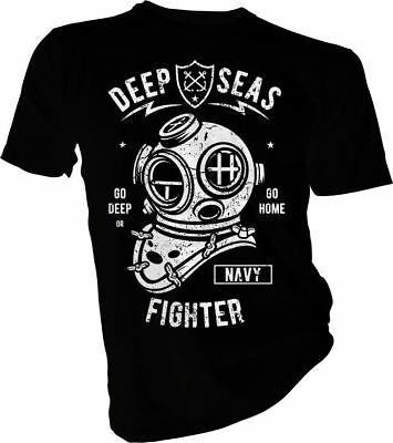 Deep Seas Fighter, Diving, Diver, Swimming, Navy Adult & Kids T-Shirt