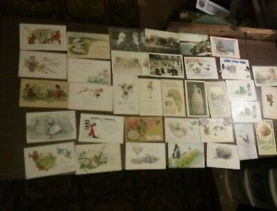 Lot of 36 ANTIQUE Vintage Postcards Used Mixed 1920's