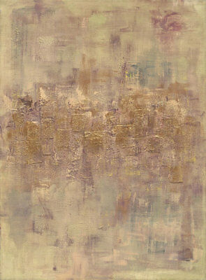 Jerusalem large abstract acrylic mix media , from original print ,gold