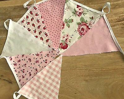 Beautiful rustic/ vintage/ shabby chic fabric bunting for marquee/ wedding. Pink