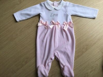 Stunning Girls Velour 'Love' Babygrow/Sleepsuit By Mintini New For AW' 18