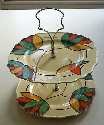 Myott Son & Co Art Deco 2 tier hand painted cake stand