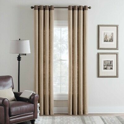 Cambria Malta Remix 95-Inch Grommet Top Window Curtain Panel in Linen