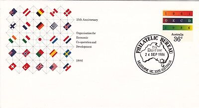 36c Pre-stamped envelope. 25th Anniversary of OECD.  First day of issue.