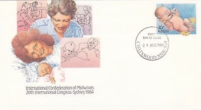 30c Pre-stampeed envelope. 1984 Conference of Midwives.  First day of issue.