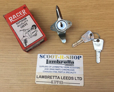 Lambretta  Tool Box Lock & 2 Keys. Gp Type - Chrome -  Original Racer Nos .