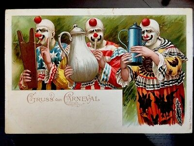 Rare True Vintage Postcard Creepy Circus Clowns GRUSS Carneval Foreign