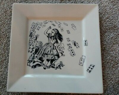 "ALICE in WONDERLAND 9"" SQUARE PLATE FISHS EDDY-BEAUTIFUL"