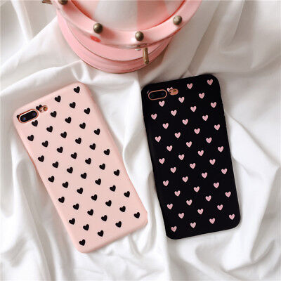 Cover Iphone 6 6S 7 8 X Plus Cuori Rosa Nera Custodia Tpu Silicone Apple Cuore
