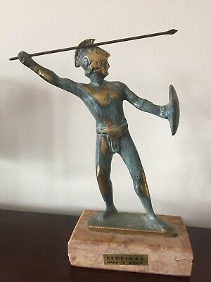 Ancient Greek Bronze Statue Replica Of Leonidas King Of Sparta - Made In Greece