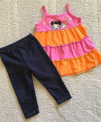 Baby Girl 2-piece Set Outfit ~ Size 12 M ~ Nickelodeon Carter's ~ Pre-owned