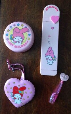 Lot 4 VINTAGE 1976 Sanrio My Melody Hello Kitty Comb, Tape Disp, Luggage Tag Etc