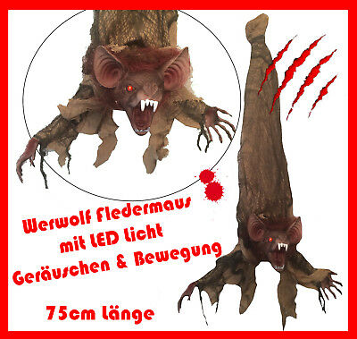 Halloween Figur Bewegung Vampir Fledermaus Monster Werwolf LED Deko Grusel 355