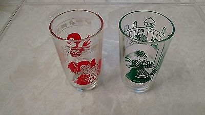 Vintage Swanky Swig Juice Glasses    Lot of 2  (Red Elephant and Green Bustling)