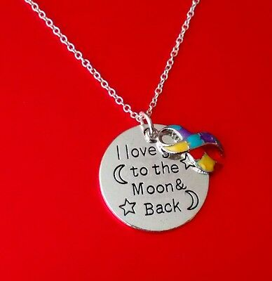 Autism Awareness 'I Love You To The Moon'  Silver Necklace Charm Pendant Gift