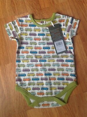 Short Sleeve Baby Body with Multi-Coloured Camper Van design size 6-12 months