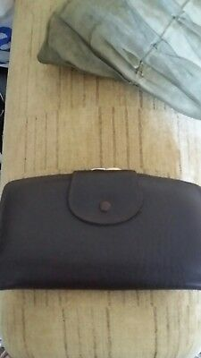 vintage real leather brown purse with compartments and stamp holder