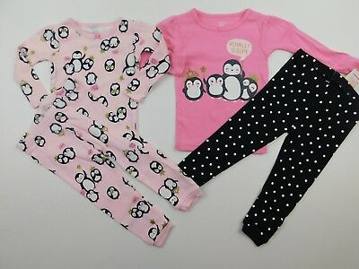 Carter's Just One You Girls Penguin Royally Sleepy 4 Piece Pajamas 12 Months NWT