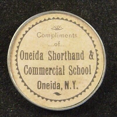Vintage Oneida NY Shorthand & Commercial School Advertising Mirror c1900