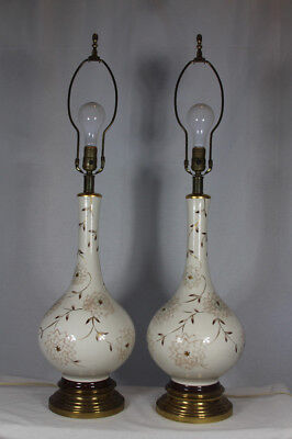 Pair of Vintage Ceramic Porcelain Table Lamps with Golden Floral Design
