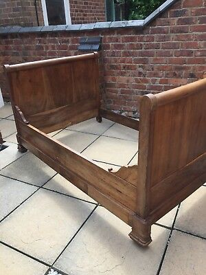 FRENCH ANTIQUE DAY BED, SMALL DOUBLE SLEIGH BED ,19th CENTURY