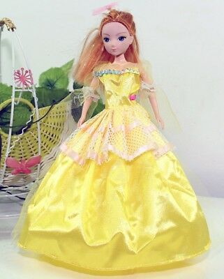 Handmade Party Dress Fashion Yellow Clothes For Barbie Doll Outfit Gown Wedding