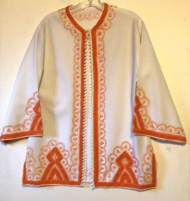 Women's   Orange and Cream  Tunic ~Size XL (no tag)  w Short Sleeves