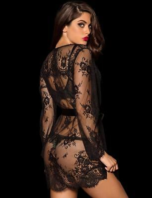 Honey Birdette Love Lace Black Robe SIZE S/M BRAND NEW