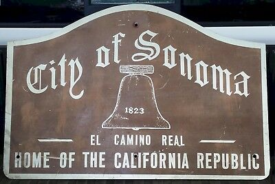 "36"" wide 24"" tall Vintage City of Sonoma Advertising Street Sign Antique Wine"