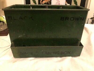 Vintage Metal Shoe Cleaning Box. In Bottle Green Colour