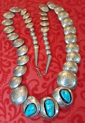 Vintage Sterling Silver Kingman Turquoise  Pillow Bead  Necklace Native American