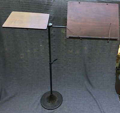 Antique Iron Mahogany Dual Lift Tilt Music Stand Book Lectern Side Tray Travel