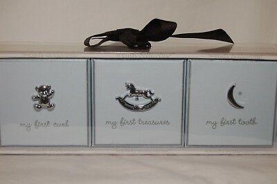 3 Baby Boy Keepsake boxes. First Curl, First Treasures, First Tooth