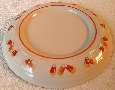 "7.25"" Candy Corn Pillar Candle Holder Dish Longaberger Pottery Halloween"
