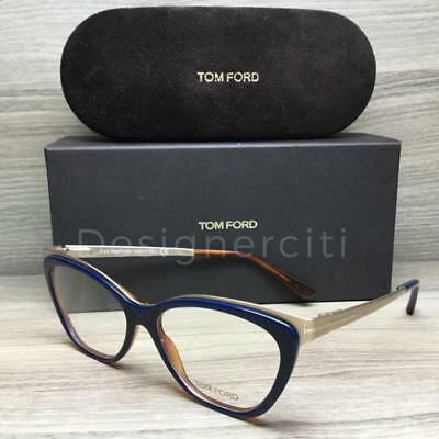 Tom Ford TF 5374 TF5374 Eyeglasses Blue Gold 090 Authentic 54mm