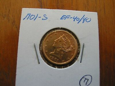 1901-S  $5.00 Indian Head Gold Eagle Coin in graded protective cover