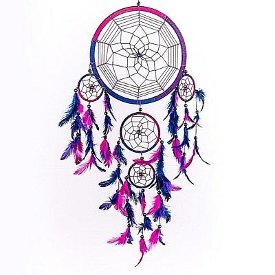 Dream Catcher Handmade Traditional Royal Blue Pink and Purple Good Dreams
