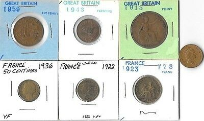 7 Great Britain & France Coins-Various Years & Denominations