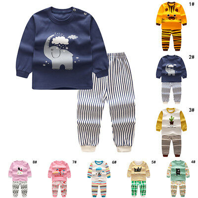 New Cute Sleepwear Baby Infant Pants Sleeve Animals Outfits Long Round Child