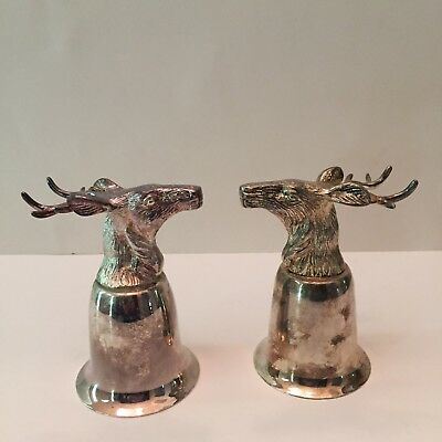 Set of 2 Vintage Stirrup Goblets Elk Head Silver Plate Hunting Deer Stag Cups