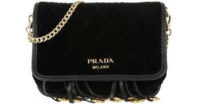 f2084a7c5eb1 New Authentic Prada Marsupio Small Velvet Flap Crossbody Bag or Belt Bag  Black
