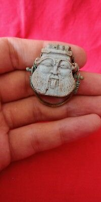 ancient egyptian royal ring toped with bes amulet egypt antique